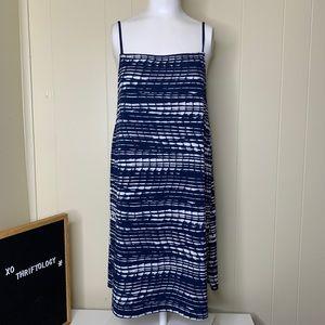 KENSIE Spaghetti Strap Dress Blue & White XL